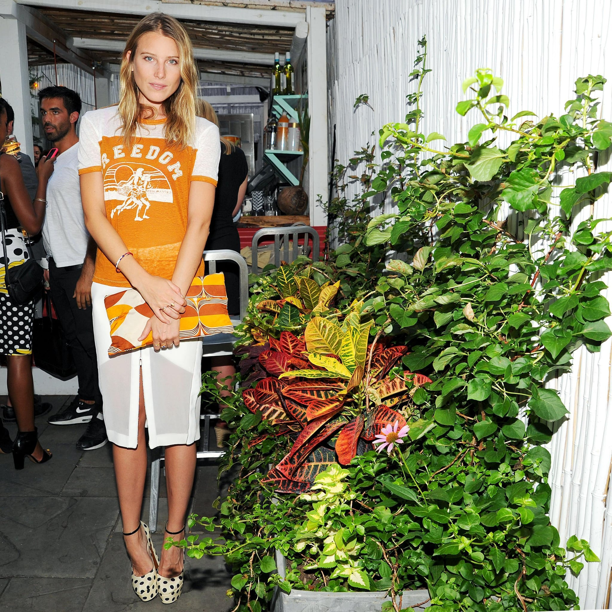 What's cooler than Dree Hemingway's cool-girl take on a pencil skirt with a vintage-feeling tee and printed heels? Source: Billy Farrell/BFAnyc.com