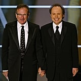 Robin and Billy Crystal hit the stage together to host the Academy Awards in February 2004.
