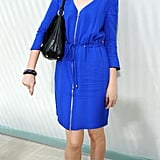 Lauren Laverne wore blue with black accessories at Preen.