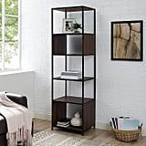 "Metal & Wood 70"" Dark Walnut Storage Bookshelf"