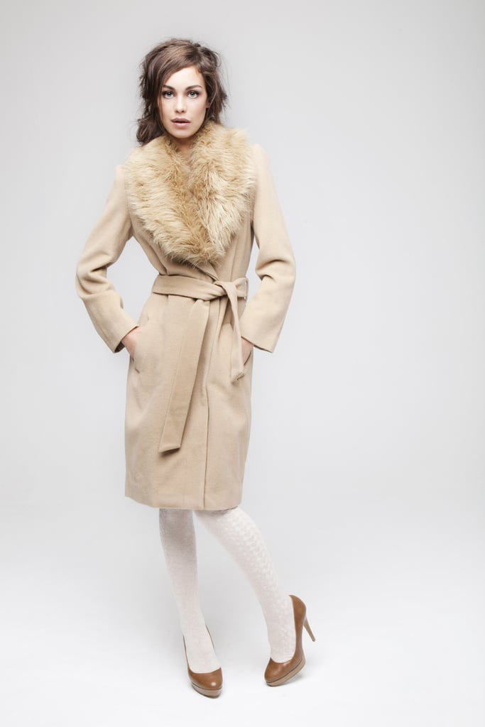 Go for a classic glamourous look in a camel coat with fur collar (£49) and stack heel platforms (£15).