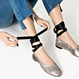 Zara Lace-Up Leather Ballet Flats ($70)