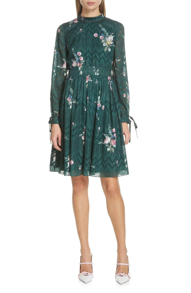Ted Baker London Sofiya Floral Ribbon Tie Dress