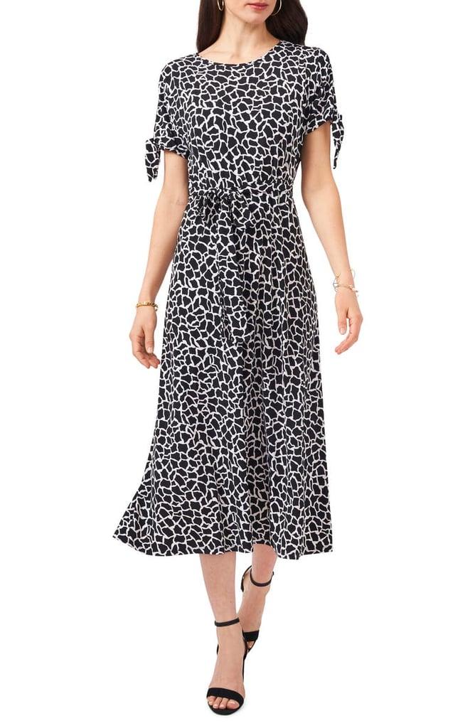 Chaus Print Split Sleeve Midi Dress