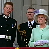 Queen Elizabeth II with Prince Harry and Prince Andrew in 2005