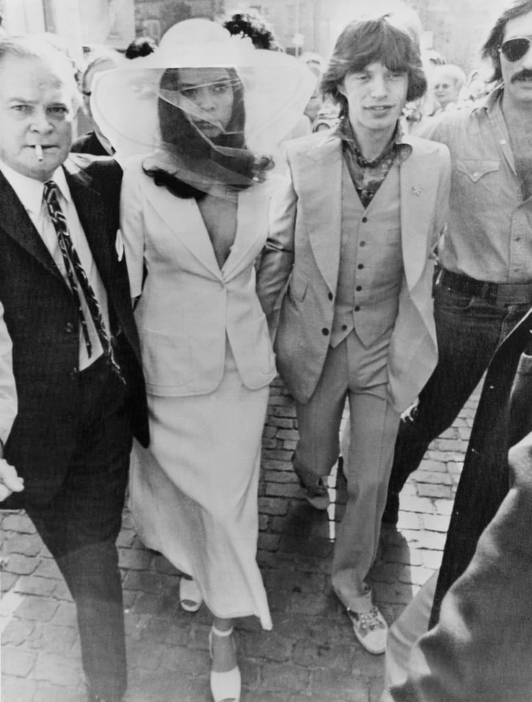 Bianca Jagger Wore a White Bridal Skirt Suit For Her Wedding