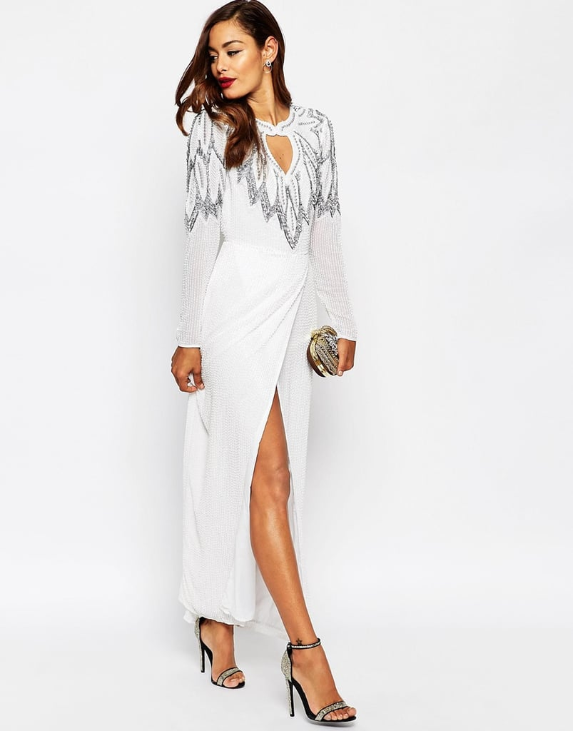 Asos Bridal All Over Embellished Leaf Placement Maxi Dress ($305)