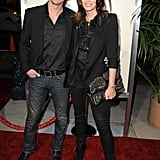 Cindy Crawford and Rande Gerber posed together on the red carpet.
