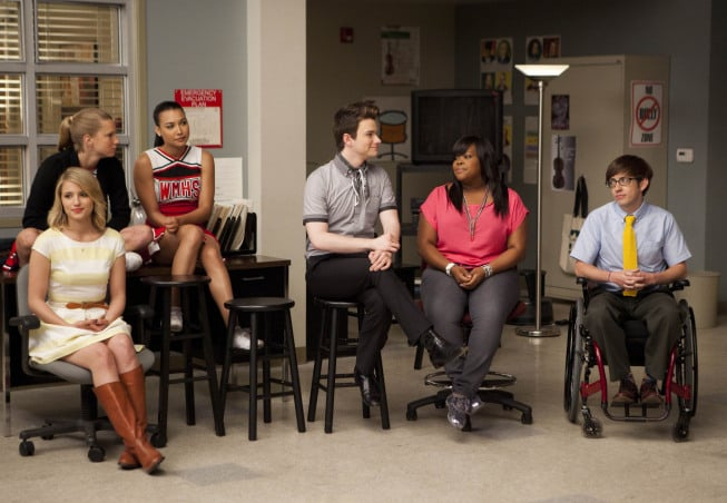 Dianna Agron, Heather Morris, Naya Rivera, Chris Colfer, Amber Riley, and Kevin McHale on Glee. Photo courtesy of Fox