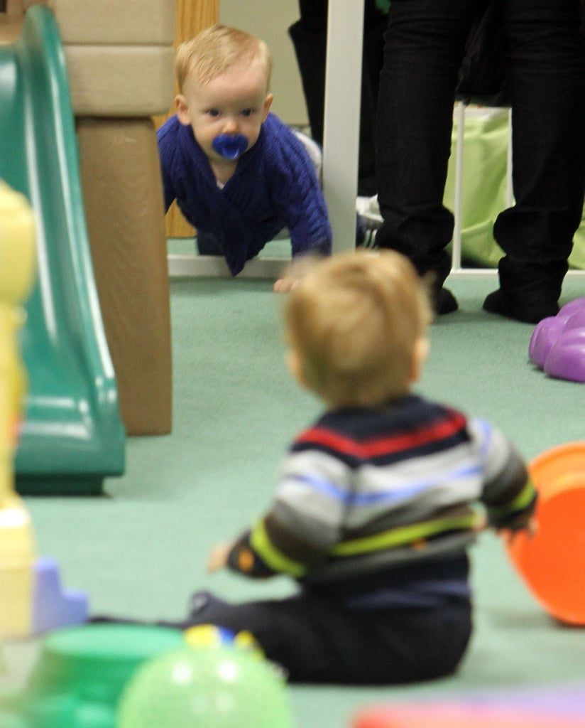 Luca Comrie crawled in his Babies First Class session.