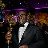 Steve McQueen partied with his award in hand.