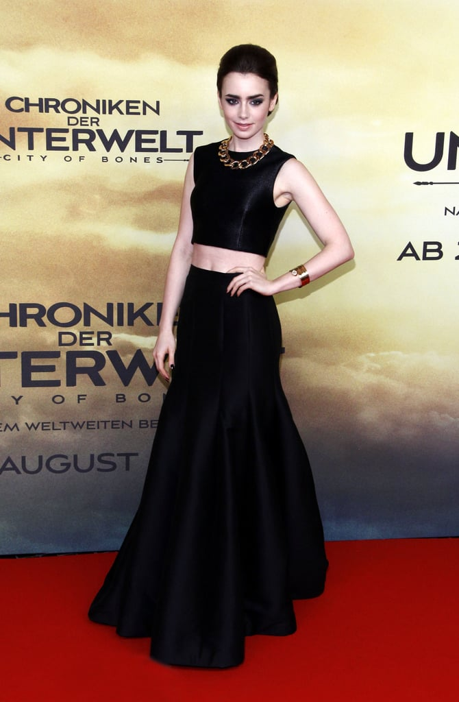 The actress looked sophisticated and just a bit fashion-forward in a Halston Heritage skirt and crop top at the film's Germany premiere.