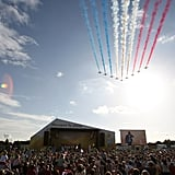 The Red Arrows performed during the Olympic torch relay in Lincoln, England.