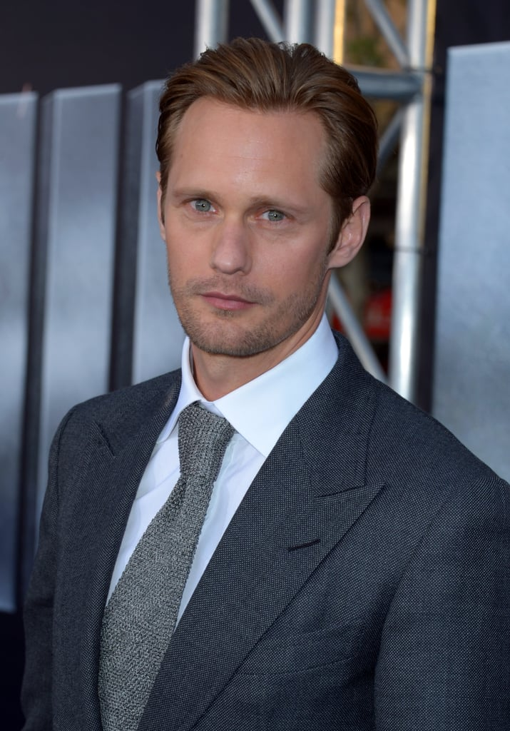Alexander Skarsgard looked sexy in a gray tie for the premiere of Battleship in LA.