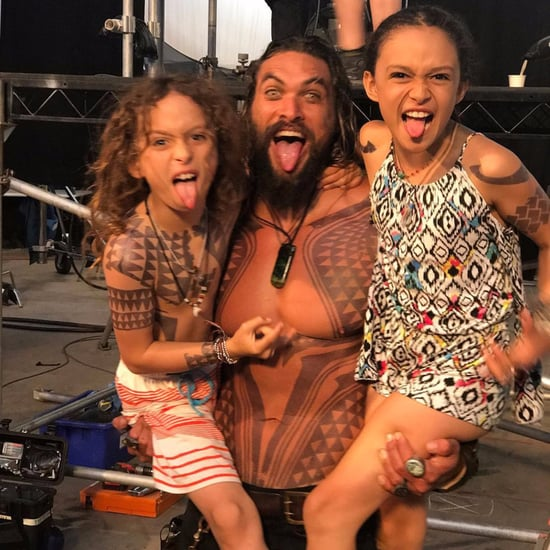 Jason Momoa on Aquaman Set With His Kids 2017