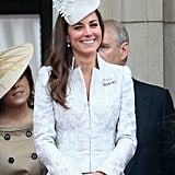 The Duchess Sparkled and Smiled in a White and Silver Alexander McQueen Piece at The Trooping of the Colour