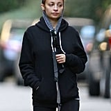 Nicole Richie bundled up in a hood as she walked her dog.