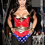 Kim Kardashian sported a sexy Wonder Woman costume for her annual Halloween party in LA in October 2008.