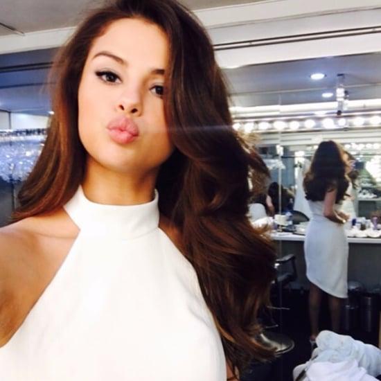 Selena Gomez's White Asymmetrical Dress February 2017