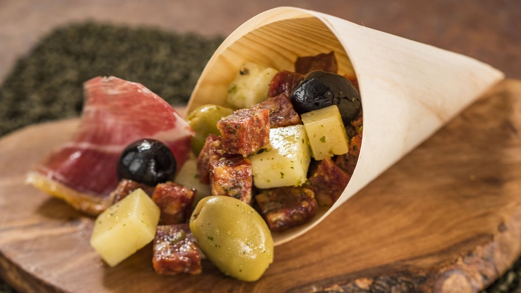 Spain: Charcuterie in a Cone (Spanish Meats, Cheeses, and Olives With an Herb Vinaigrette)