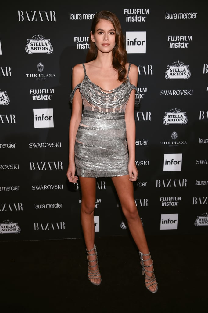 Kaia Wore a Formfitting Silver Aadnevik Dress For the Harper's Bazaar Party