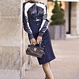Aimee Song with a Louis Vuitton bag at Paris Fashion Week