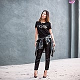 A black tee might be basic, but with leather pants and a touch of camo, it's infinitely cooler.  Source: Instagram user songofstyle