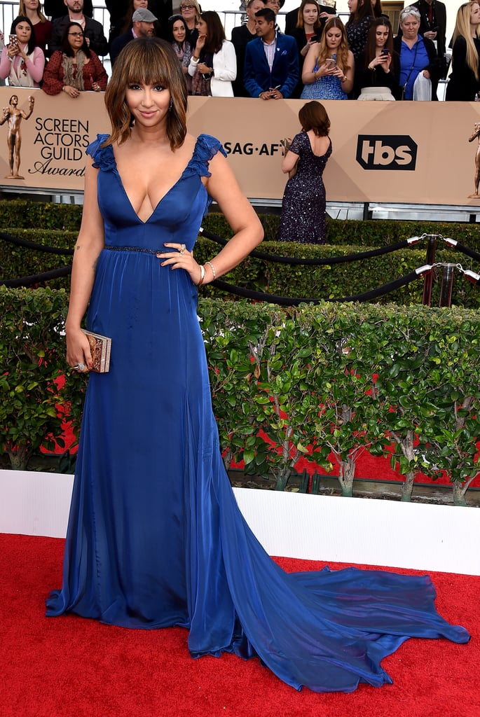 Jackie Cruz glamorous in a cobalt-blue Leanne Marshall dress.