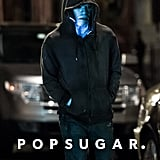Jamie Foxx wore a hoodie and blue makeup on the set of The Amazing Spider-Man 2.
