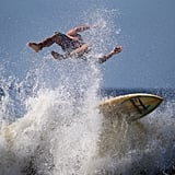 A surfer wiped out in the waves in Long Beach, NY.