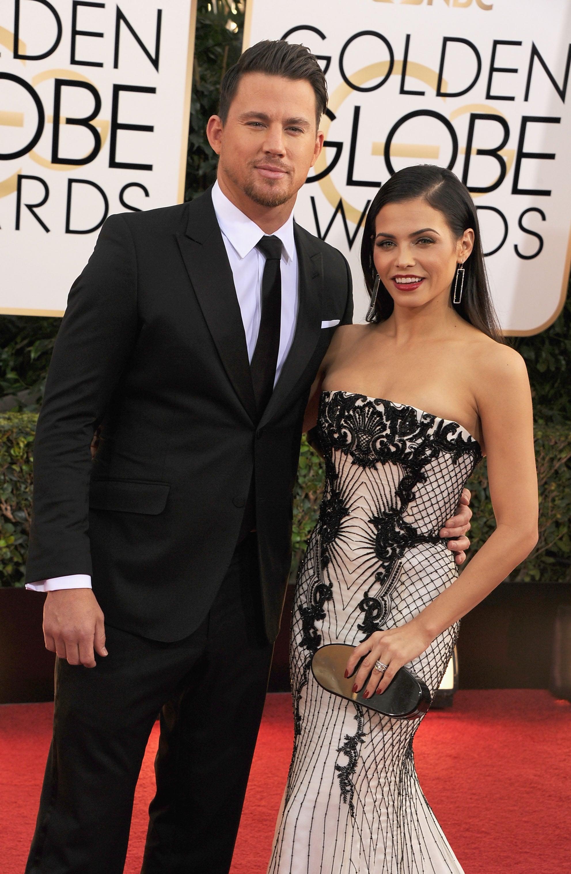 At the Golden Globes, Channing Tatum gave a handsome smirk alongside Jenna Dewan.