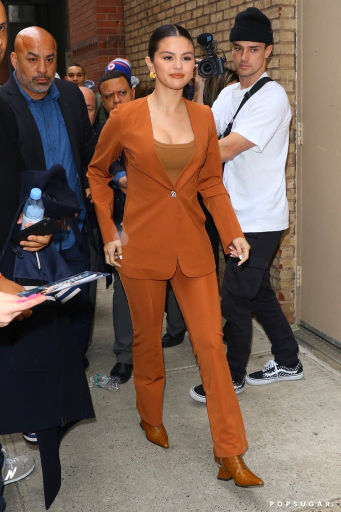 Selena Gomez's Burnt Orange Suit and Yuul Yie Croc Boots