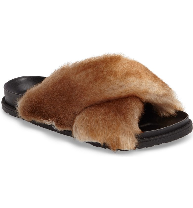 Style this Topshop Harissa Faux Fur Slide sandal ($48) with your go-to pair of baby blues.