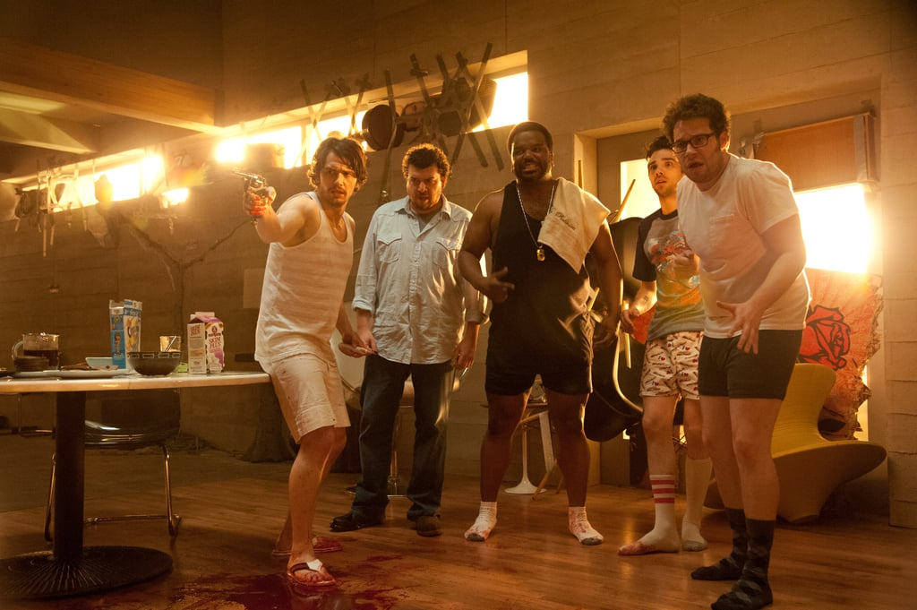 This Is the End  Who's starring: James Franco, Seth Rogen, Jay Baruchel, Craig Robinson, and Danny McBride Why we're interested: We'd watch these funny guys in anything. The movie's twist on the end-of-the-world premise — it's a raunchy comedy — would be enough to get us in the theater, but it also boasts a ton of A-list cameos like Emma Watson and Rihanna. When it opens: June 12  Watch the trailer for This Is the End.