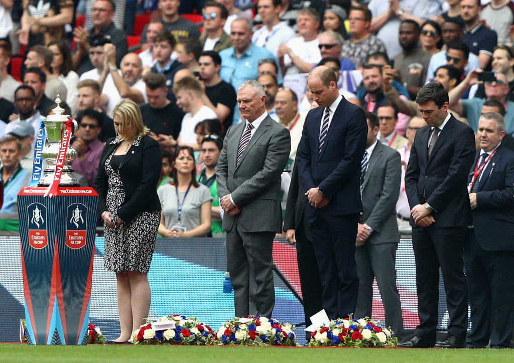 "Prince William honored the victims of the Manchester concert attack at the Emirates FA Cup Final between Arsenal and Chelsea at Wembley Stadium in London on Saturday. The royal paid tribute to the 22 people who were killed and all the people who were injured by laying down a wreath of flowers and participating in a moment of silence. Kensington Palace also tweeted a handwritten note from the prince that reads, ""We will never fear coming together to celebrate all that unites us. In memory of the friends and family taken from us in Manchester."" ""We will never fear coming together to celebrate all that unites us. In memory of the friends and family taken from us in Manchester."" pic.twitter.com/ZxJchEdH7V— Kensington Palace (@KensingtonRoyal) May 27, 2017    Since the horrific attack, the royal family has been spreading hope and healing to the people of Manchester. William released a statement on behalf of himself, Kate Middleton, and Prince Harry, while Queen Elizabeth II did the same. On Friday, the queen personally visited a few of the attack's youngest victims in the Royal Manchester Children's Hospital, and the community in Manchester has shown strength by uniting for a citywide minute of silence as cities around the world show their support."
