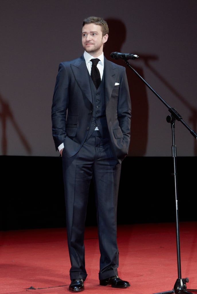 Justin worked a three-piece suit for the Moscow premiere of Friends With Benefits in July 2011.