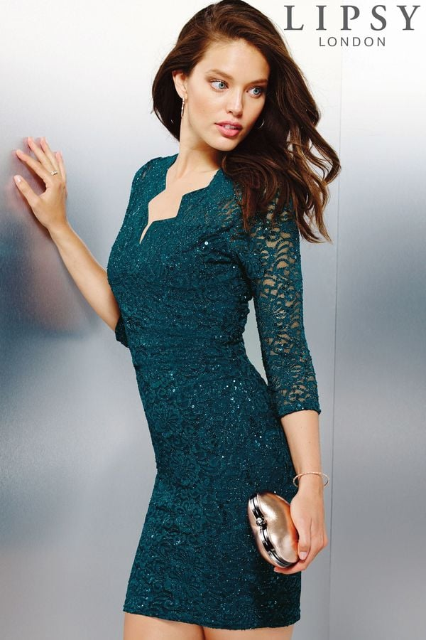 Lipsy Glitter Lace Bodycon Dress Best Party Dresses For