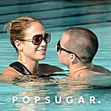 Jennifer Lopez and Casper Smart looked lovingly at each other while taking a pool dip in Miami in August 2012.