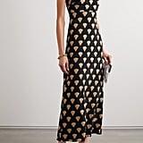 Rixo Astrid Velvet-Trimmed Printed Silk Crepe de Chine Midi Dress ($434.62)