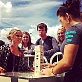Shawn Johnson and Carly Patterson faced off in a game of Jenga. Source: Instagram user ian_sager