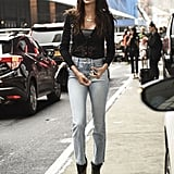 Joan Smalls Was Seen Wearing a Black Top and Light Blue Jeans Outside the Michael Kors show