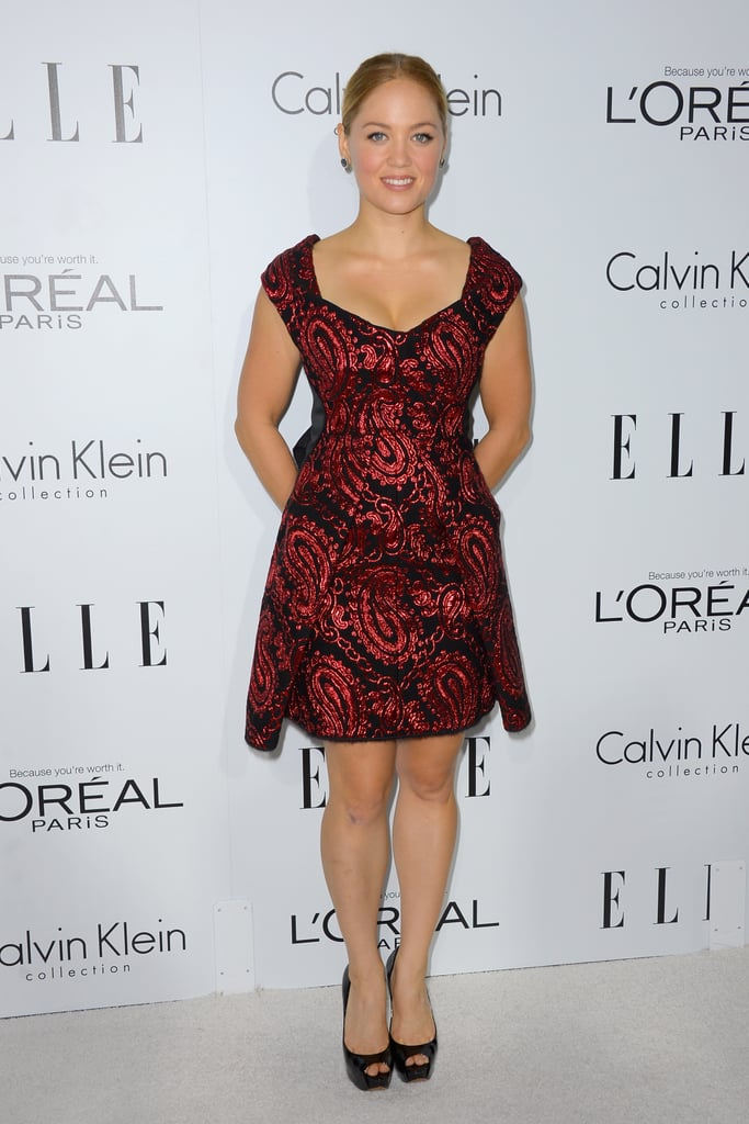Erika Christensen channeled a major Fall trend in a little jacquard dress by Marc Jacobs.