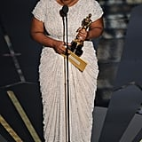 Octavia Spencer got teary-eyed during her Oscar acceptance speech for best supporting actress.