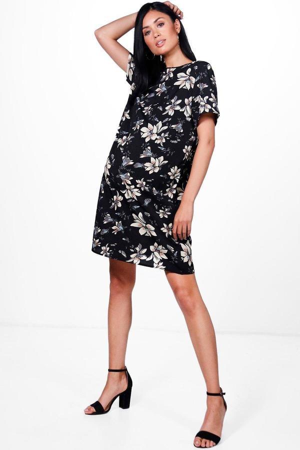 a6c66034ff2e6 Boohoo Maternity Cally Floral Printed Cap Sleeve Shift Dress | Best ...