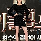 Black is the color of Kristen's choice. Here is another LBD by Prabal Gurung that she wore along with Jimmy Choos at the South Korea premiere.