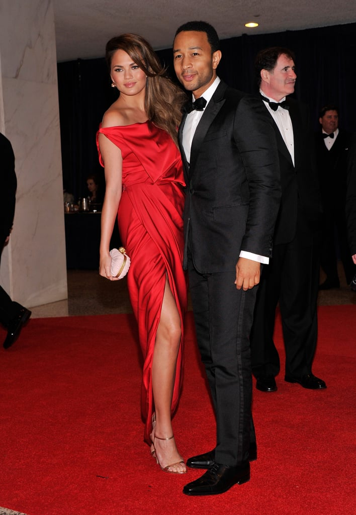 John Legend posed in his tux on the red carpet.