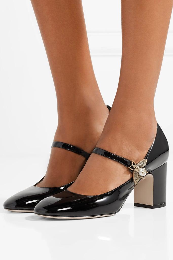 ac3a00f369 Gucci Embellished Patent-Leather Pumps   Emma Roberts Black Pearl ...