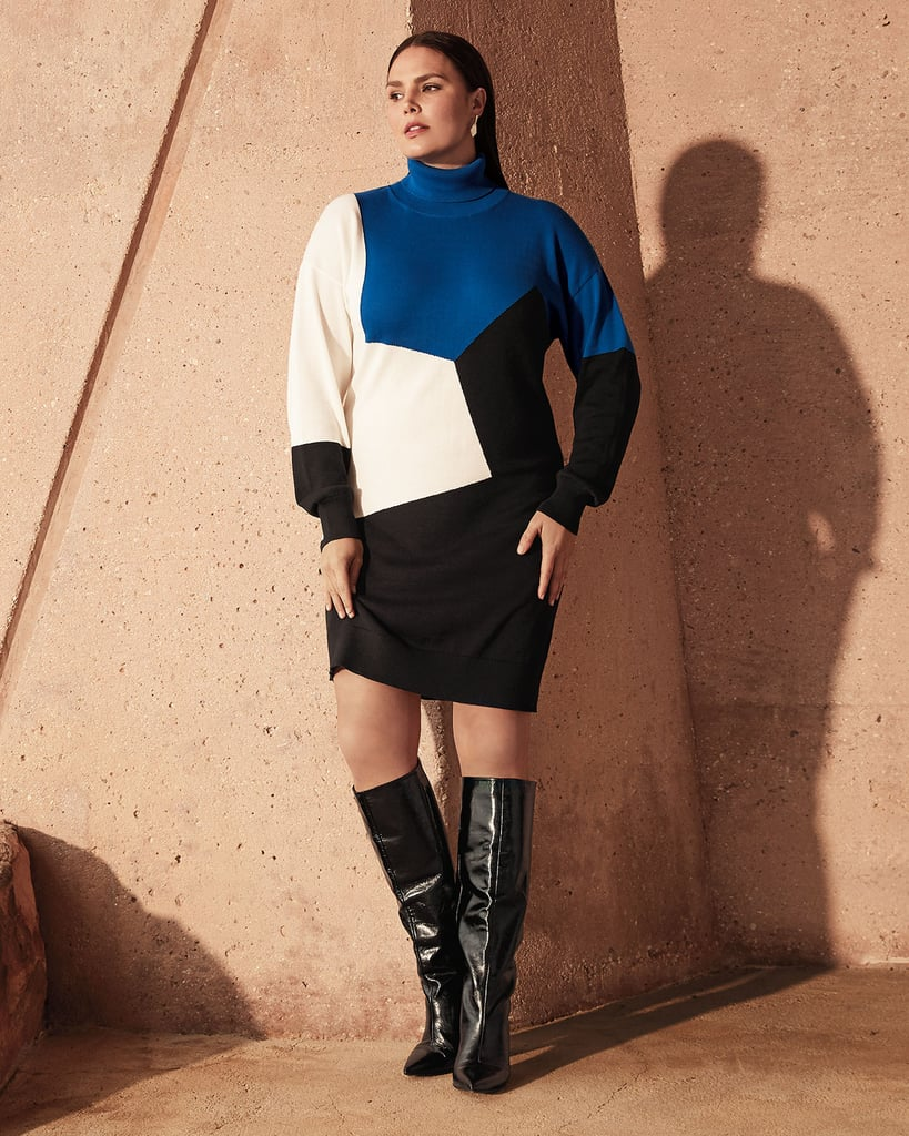 Joan Vass Colorblock Turtleneck Cotton Sweater Dress