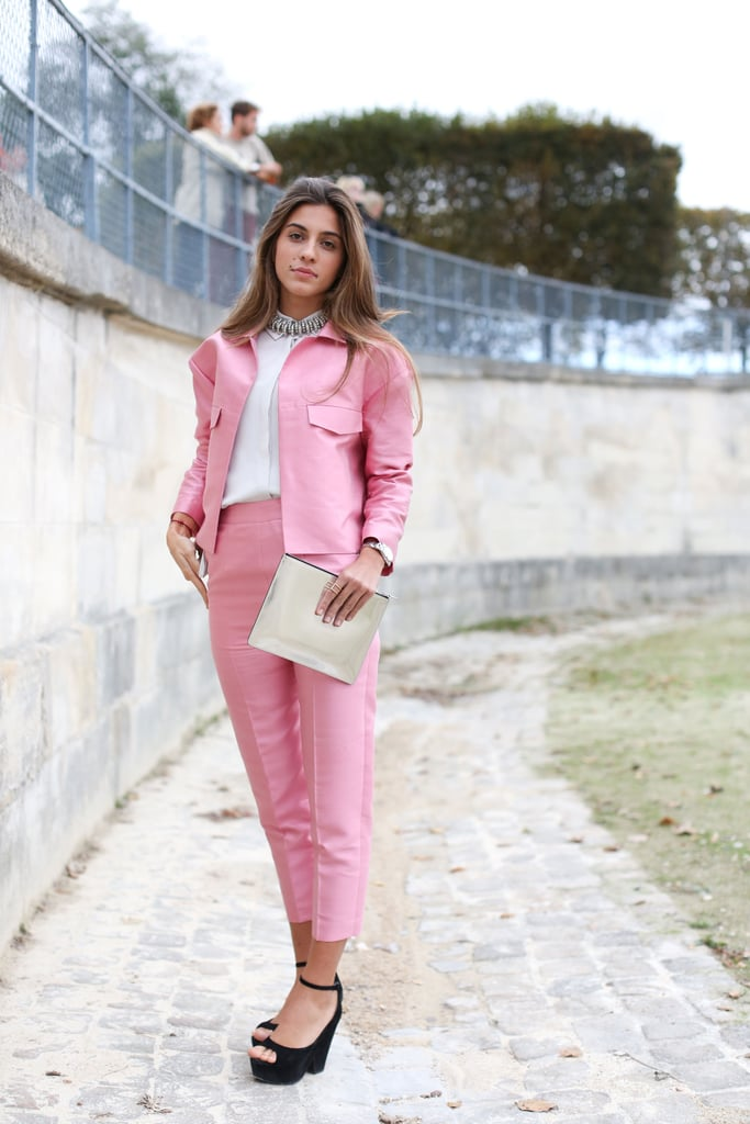 Sweet pink suiting with glam details, like a pair of platforms and a jeweled necklace.
