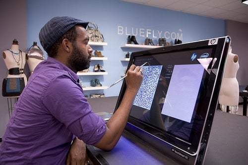Photos of the HP TouchSmart PC's and Project Runway Contestants
